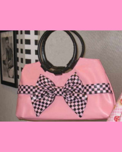 Pink Check Bow Bag with black bow