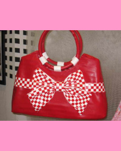 Red Check Bow Bag with white bow