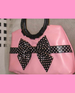 Pink Polka Dot Bag with black bow