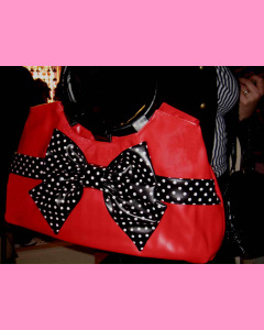 Red Polka Dot Bag with black bow