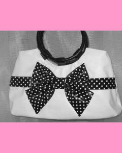 White Polka Dot Bag with black bow