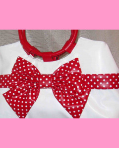 White Polka Dot Bag with red bow