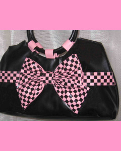 Black Check Bow Bag with pink bow