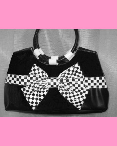 Check Bow Bag, Black with white bow