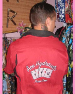 Ace Hydraulic embroidery on the back
