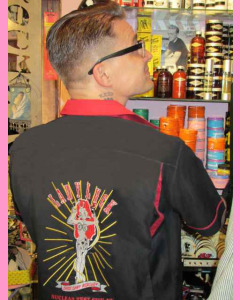Lady Luck embroidery on the back