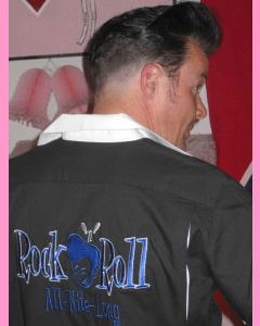 Rock`n'Roll All-Nite Long Bowling Shirt. Large embroidery on the back