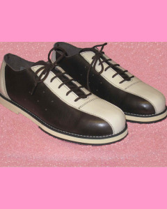 Black and beige leather Bowling Shoes