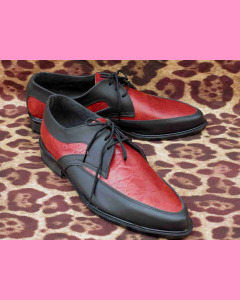 Black leather and red crocodile  Buddy Shoes