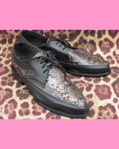 Black leather and dark python snake Buddy Shoes