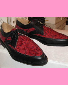 Black leather and red python  snake Buddy Shoes