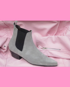 Grey suede Chelsea Boots with cuban heels
