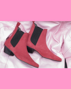 Red Suede Chelsea Boots with cuban heels