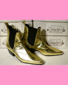 Golden leather Chelsea Boots with Cuban heel