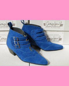 Blue Suede Chelsea Strap Boots with Cuban heel