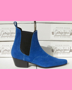 Electric blue Chelsea Boots with Cuban heel