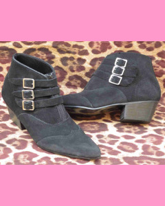 Black suede Strap Boot