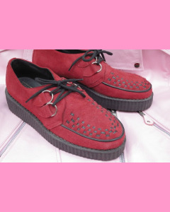 Red suede D-Ring Creepers