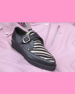 Black leather and zebra fur pointed buckle creepers