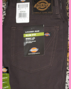 Dark Brown Dickies Slim Skinny 810 Jeans