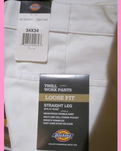 White Dickies Double Knee Work Pants