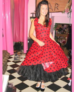 Red 50´s Halterneck Circular Dress With Large Black Polka Dots