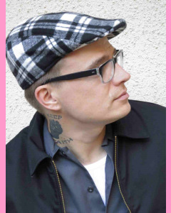 Black and white Tartan Flat Cap