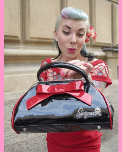 Black Floozy Purse with red bow