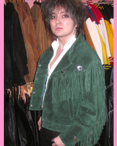 Green Suede Fringe Jacket