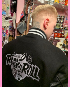 Black Melton Baseball Jacket with black leather sleeves. 