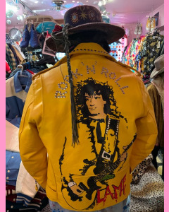 Painted Studded Brando Leather Jacket