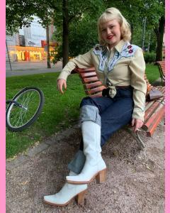 White leather Ladies Texas Boots