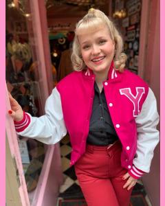 Youth Baseball Jacket, Pink/White leather sleeves