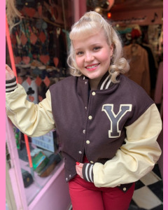 Youth Baseball Jacket, Dark Brown/White leather sleeves