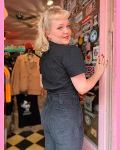 Dickies 874 Ladies Cropped Work  Pants, Black Corduroy