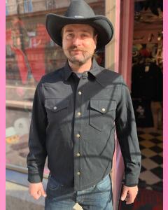 Black Lee 101 Wool Overshirt Jacket