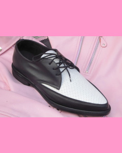 Black and white leather Jam shoes