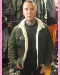 Green Corduroy Lee Sherpa Jacket
