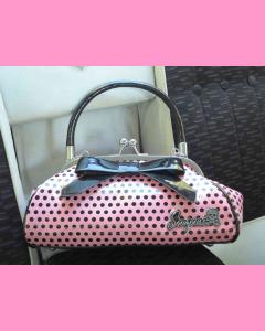 Pink Floozy Purse with black polka