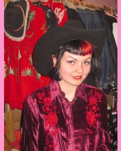 Burgundy Rockmount Ladies Velvet Embroidery Shirt