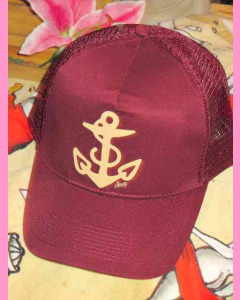 Burgundy Sailor Jerry Anchor Trucker Cap