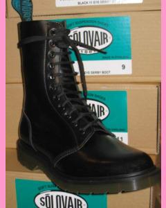 Black Solovair 11 Hole Soft Cap Derby Boot