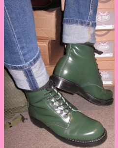 British Racing Green Solovair 8 Hole Soft Cap Derby Boot