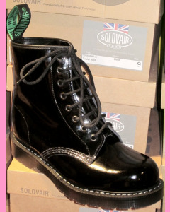 Black Patent Leather Solovair 8 Hole Soft Cap Derby Boot
