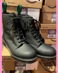 Black Greasy Solovair 8 Hole Soft Cap Boot