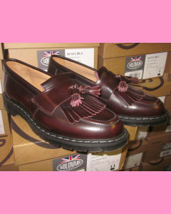 Solovair Burgundy Rub-Off Tassel Loafers
