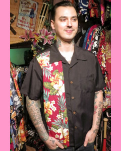 Black Hibiscus Tiki Panel Shirt