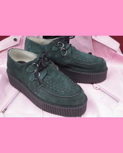Green suede High Sole D-Ring Creepers