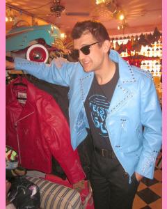 Sky Blue Studded Brando Jacket