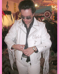 White Studded Leather Fringe Elvis Jacket